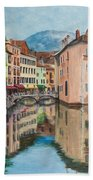 Reflections Of Annecy Beach Towel