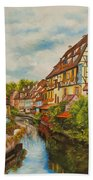 Reflections Of Colmar Beach Towel by Charlotte Blanchard