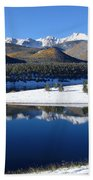 Reflections Of Pikes Peak In Crystal Reservoir Beach Towel
