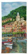 Reflections Of Portofino Beach Towel by Charlotte Blanchard