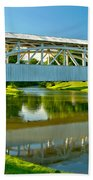 Reflections Of The Halls Mill Covered Bridge Beach Towel