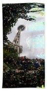 Reflections Of The Space Needle Beach Towel