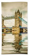 Reflections On Tower Bridge Beach Towel