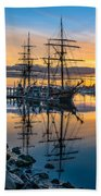 Reflectons On Sailing Ships Beach Towel