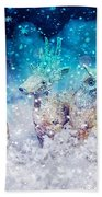 Reindeer And Owls Holiday Celebration Beach Towel