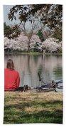Relaxing Under Cherry Blossoms Beach Sheet