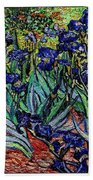 replica of Van Gogh irises Beach Towel