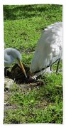 Resting Wood Stork And White Egret Beach Towel