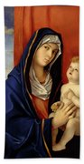 Restored Old Master Madonna And Child  Beach Towel