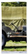 Restored Willys Jeep And Tent At Fort Miles Beach Towel