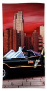 Retro Bat Woman Beach Towel