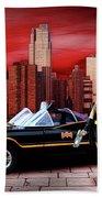 Retro Bat Woman Beach Sheet