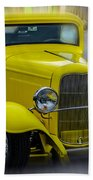 Retro Car In Yellow Beach Towel