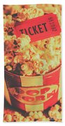 Retro Film Stub And Movie Popcorn Beach Sheet
