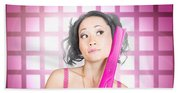 Retro Hairdresser Holding Big Pair Of Scissors Beach Sheet