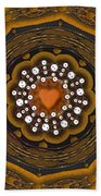 Retro Peace With Love And A Heart Of Gold Beach Towel
