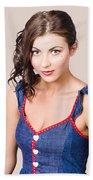 Retro Pin-up Girl In Blue Denim Dress Beach Towel