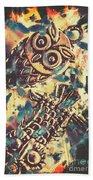 Retro Pop Art Owls Under Floating Feathers Beach Sheet