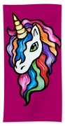 Retro Rainbow Unicorn Beach Towel
