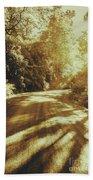 Retro Rainforest Road Beach Towel