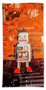 Retro Robotic Nostalgia Beach Towel