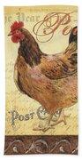 Retro Rooster 1 Beach Towel by Debbie DeWitt