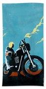 Retro Scrambler Motorbike Beach Towel