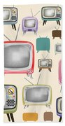retro TV pattern  Beach Towel by Setsiri Silapasuwanchai