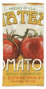 Retro Veggie Labels 4 Beach Towel by Debbie DeWitt