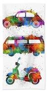 Retro Wheels Watercolor Beach Towel