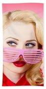 Retro Woman Model Wearing Summer Sun Glasses Beach Towel