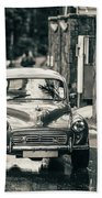 Retromobile. Morris Minor. Vintage Monochrome Beach Towel