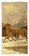 Returning Home In Winter Beach Towel by Charles Ferdinand De La Roche