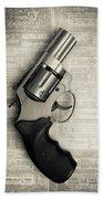 Revolver Pistol Gun Over Drawings Beach Towel