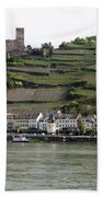 Rhine Castle And Terraced Vineyards Beach Towel