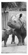 Rhino Mom And Baby Beach Towel
