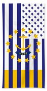 Rhode Island State Flag Graphic Usa Styling Beach Towel