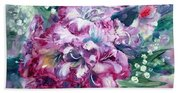 Rhododendron And Lily Of The Valley Beach Sheet