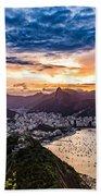 Rio De Janeiro Sunset Beach Towel