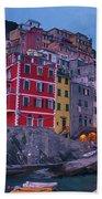 Riomaggiore In Cinque Terre Italy Painterly Beach Towel