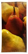 Ripe Pears And Two Persimmons Beach Sheet