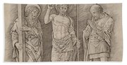 Risen Christ Between Saints Andrew And Longinus Beach Towel