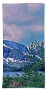 Rising Wolf Mountain And Two Medicine Lake Beach Towel