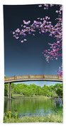 River Bridge Cherry Tree Blosson Beach Towel