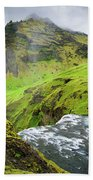 River Skoga And Green Nature In Iceland Beach Towel