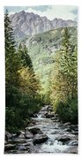 River Stream In Mountain Forest Beach Towel