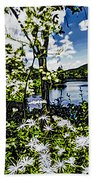 River View Through Flowers. On The Bridge Of Flowers. Beach Towel