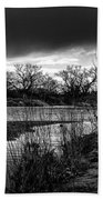 River With Dark Cloud In Black And White Beach Towel