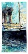 Rms Titanic White Star Line Ship Beach Towel