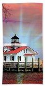 Roanoke Marshes Lighthouse, Manteo, North Carolina Beach Towel